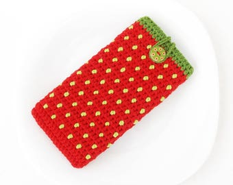 Strawberry Samsung S8 bag, BlackBerry DTEK50 cover, geek Pixel vegan case, red iPhone 7 cozy, Sony XZ sleeve, Honor 8 sock, Lenovo K6 pouch