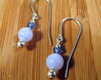 Sterling Silver Blue Lace Agate Earrings