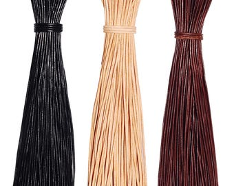 6 pcs. Round Leather Cord 2mm / 80cm Cowhide