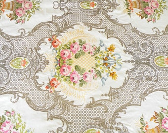 Rare Antique 19th Century French Brocade Fabric Ornate Floral Needlepoint Stitchery, 8 YD Magnificent Wreaths of Roses Louis XVI Decor Style