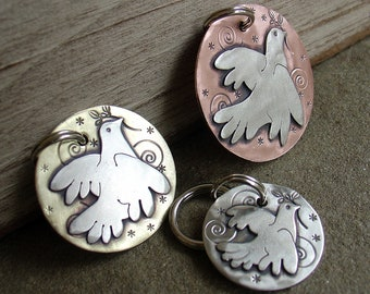 Chrismas Dog ID Tag- Dove of Peace - 3 sizes