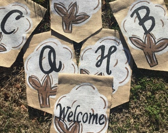 Yard Flag Cotton  Boll with Initial BURLAP yard garden flag Summer Spring Southern Welcome