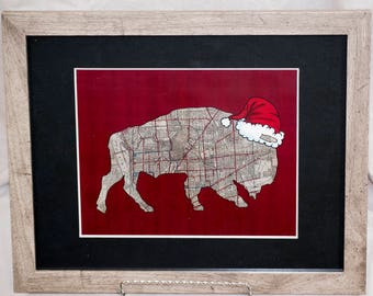 Christmas Buffalo Christmas Rustic 5x7 matted to 8x10