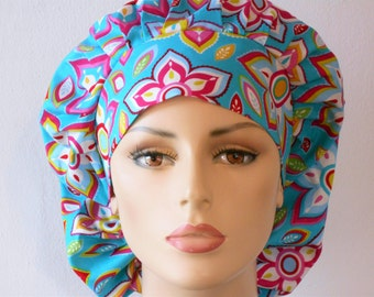 Scrub Hats Modern Flor De Star Medallions in Shades of Turquoise Womens Bouffant with a Matching Headband USA