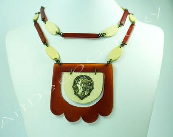 Art Deco Celluloid and Brass Necklace
