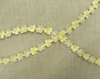 fancy floral - 1 cm-yellow and beige Ribbon