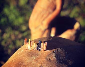 Bronze aura quartz crystal mini crown clip