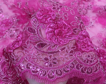 Fuchsia 3D Melissa Double Floral Embroidered with Sequin Foil Mesh Scalloped Lace Fabric by the Yard-Style 5006