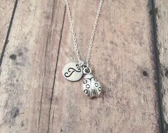 Ladybug initial necklace - ladybug jewelry, garden necklace, insect necklace, ladybird jewelry, gift for gardener, silver ladybug pendant