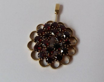 Large garnet pendant etsy vintage bohemian garnet and 8k gold large circular cluster pendantwith fixed bail january aloadofball Images