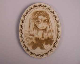 Sugar Skull Girl, Day of the Dead, Calavera, Laser Cut and Etched Wood Shapes