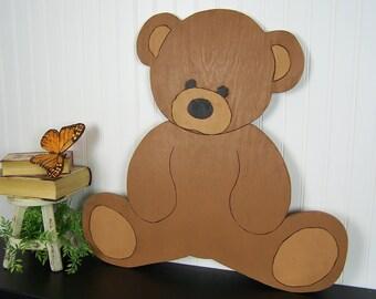 Teddy Bear Decor Teddy Bear Nursery Decor Girl Teddy Bear Wall Art Teddy Bear Art Baby Shower Gift Boy Wood Nursery Wall Art Kids Room Decor