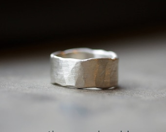 Wide Band Ring - Distressed Ring - Mens Wedding Band - Rustic Wedding Band - Edgy Wedding Band Silver Ring - Silver Wedding Band - Wide 4102