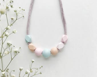 THE APRIL petite modern girls necklace, kids necklace, petite handpainted wooden bead necklace on fabric string
