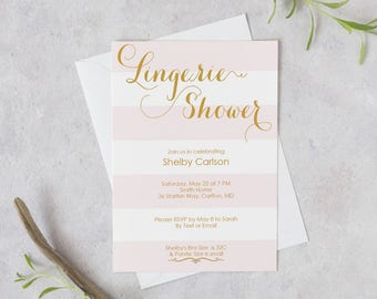 Printable Blush Lingerie Shower Invite - Pink and Gold Striped Invitation-Editable PDF - Instant Download - Bachelorette-5x7 inches -#GD2604