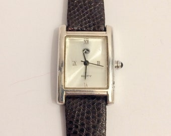 Vintage sterling zilveren watch with leather band - Pierre Montreux - ca. 1980