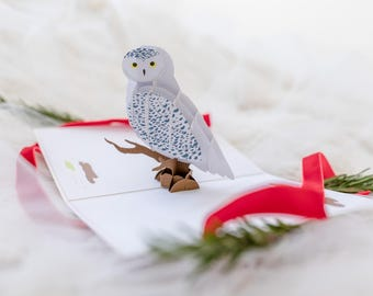 Holiday Snowy Owl Pop up Card, Snowy Owl Pop up 3D Card, Snowy Owl Card, Snow Owl Card, Winter Owl Pop up Card, Christmas Winter Owl Card