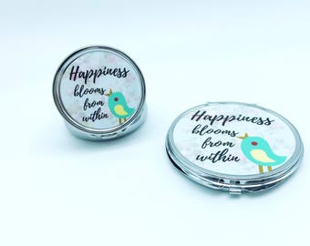 Pocket mirror. Pill box. Customized gifts. Gifts for teenager girls. mother's Day gifts. Makeup mirror. handheld. Quote on compact set