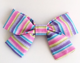 Pastel Stripes Bow Clip