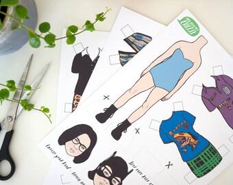 Ghost World Paper Doll, enid, dress up doll, daniel clowes, geek gift, DIY gift