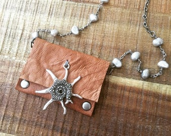 Leather Gift For Her-Light Brown and Silver- Tiny Purse- Women's Accessories-Pouch Necklace-Hipster Bohemian Jewelry-Valentine's Gift-