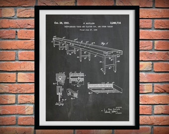 Patent 1941 Shuffleboard Table Patent Art Print - Poster Print - Game Room Wall Art