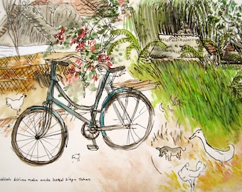 The Bali Bicycle  Archival Giclee Print