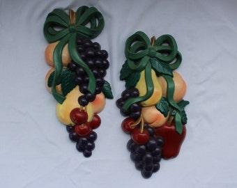 Vintage 1995 Pair of Fruit Bouquets Wall Hanging, Kitchen, Diningroom, Breakfast Nook   702