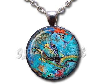 Sea Turtle Aqua Blue Glass Dome Pendant or with Chain Link Necklace  AN224
