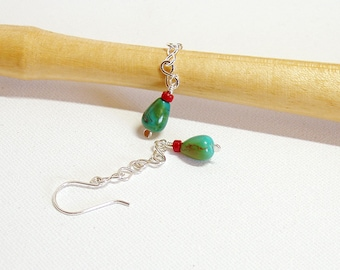 Turquoise and Coral Chain Drop Earrings in Sterling Silver, Long Dangle Earrings, Artisan Jewellery