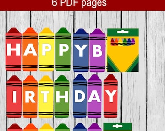 Crayon Banner, Printable Crayon Banner, Crayon Birthday Banner, Happy Birthday Banner, Crayon Party,  Crayola Birthday Banner,