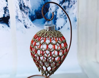 Beaded Christmas decoration; red christmas bauble; christmas tree ornament; victorian decoration; handmade ornament; beaded decoration