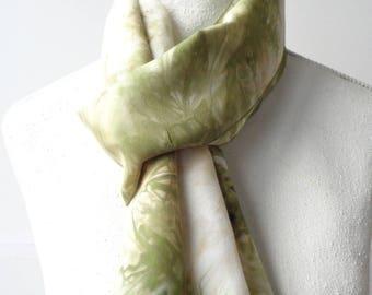 green Silk scarf  hand dayed silk scarf large yellow silk scarf handdyed silk scarf SikScarvesParis