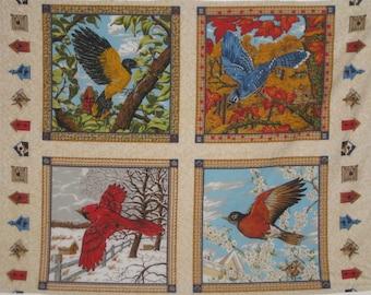 4 Bird Panels-Winter, Fall, Spring, Summer-Birdhouse Quilting Sewing Supplies-Last Panels