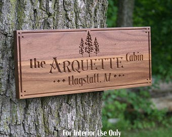 Family Name Sign, Custom Cabin Sign, Lakehouse Sign, Lake House Sign, Wooden Last Name Sign, Benchmark Custom Signs, Walnut TEfs