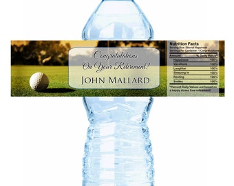 "Golf Course Themed Retirement Water Bottle Labels - Select the quantity you need below in the ""Pricing & Quantity"" option tab"