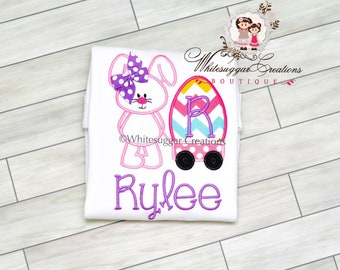 Girl Easter Shirt - Bunny with Wagon Appliqued Shirt - Custom Shirt - Personalized Girls Easter Shirt Kids Easter Clothes