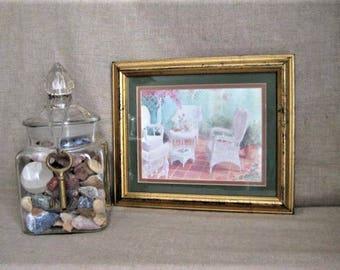 Gloria Eriksen Framed Print / Vintage Framed Garden/Patio Scene / White Wicker Print by Gloria Eriksen