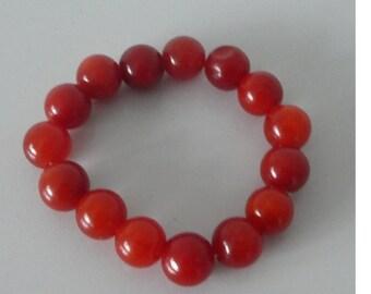 Vintage Peking glass beaded bracelet. Red Beads