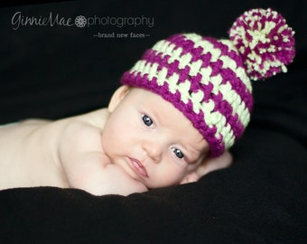 Newborn Baby Striped Hat w/removable pom-pom over 70 colors available (sizes nb 1-3mos, 3-6mos, and 6-12mos)