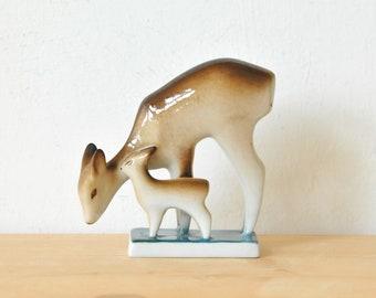 Vintage porcelain deer figurine, Zsolnay porcelain figurine, china deer figurine, CAS155