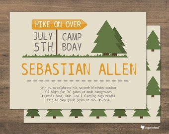 Wilderness Poster Birthday Party Invitation - birthday party, invitation, wilderness, outdoor, camping, woods, trees, nature, template