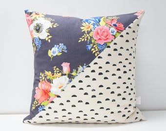 Pillow Cover - Patchwork Pillow Cover, 20x20, black dots on natural, deep navy floral bouquets