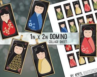 Kawaii Girls Kokeshi Dolls 1x2 Domino Collage Sheet Digital Image for Domino Pendants Magnets Scrapbooking Journaling JPG