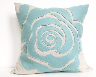 Modern Rose Petal Pillow in Seafoam Turquoise Felt on Oatmeal Cotton/Linen