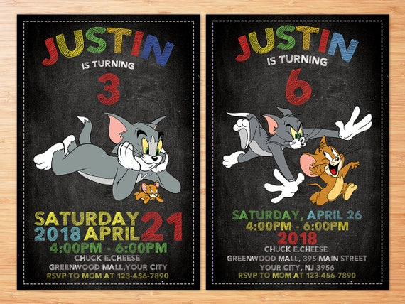 Tom and Jerry Invitation Tom and Jerry Birthday Party