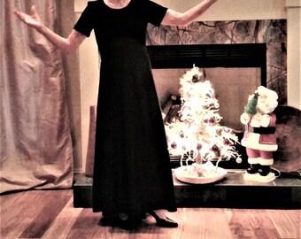 Vintage Velvet and Satin Like Empire Waist Dress - Size 2
