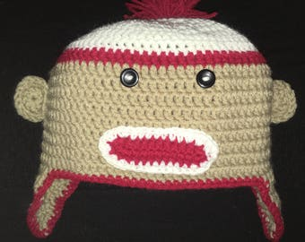 Adult sock monkey hat