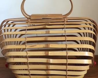 Bamboo basket bag 1940's