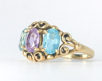 14k Topaz and Amethyst Synthetic Stones